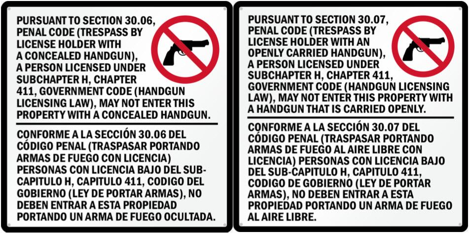 Open Carry Signs