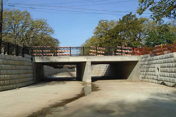 Live Oak Road Bridge, at Delaware Creek, post-construction - Irving, TX