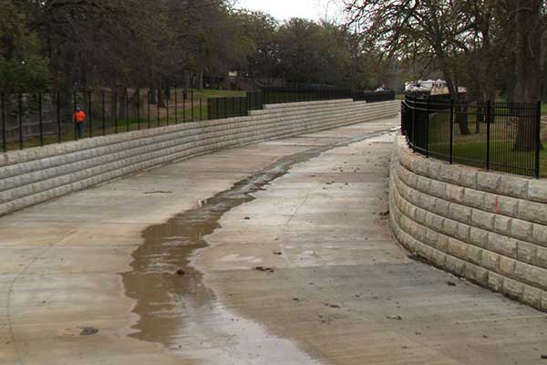Newly paved drainage channel in Irving, Texas.