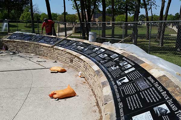 New plaques being installed at Founders Plaza in Centennial Park, Irving, Texas.