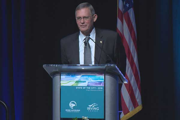 Mayor Rick Stopfer speaks at the 2018 State of the City event, held at the Irving Convention Center