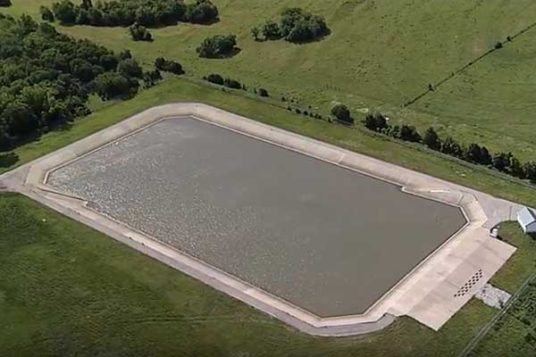 Leveling pond used in transporting drinking water from Jim Chapman Lake to Irving, Texas.