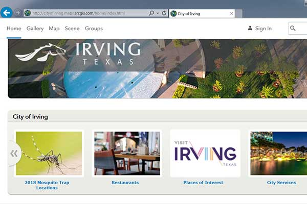 Screenshot of the GIS website for Irving, Texas.
