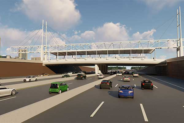 An artist&#39s rendering of the Signature Bridge shows cars on SH 114 during the day, going under th