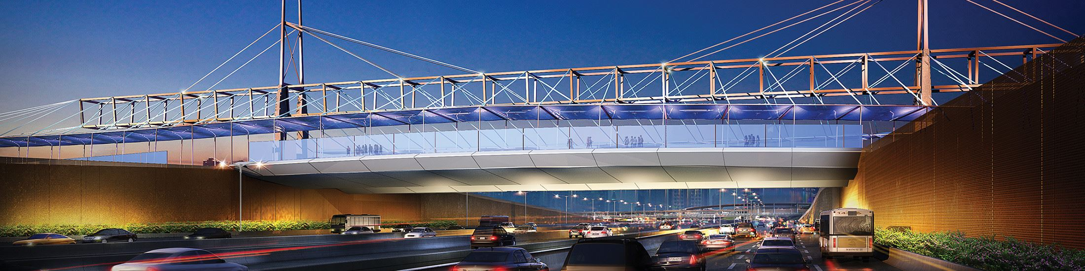 An artist's rendering of the new State Highway 114 Signature Bridge.