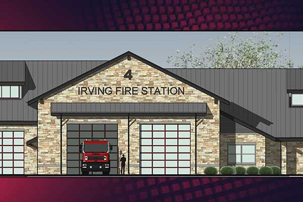 Architectural rendering of the proposed new Fire Station #4 in Irving, Texas.