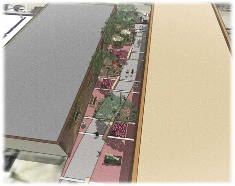 Architectural rendering of the Main Street Plaza, showing an aerial view of the plaza.