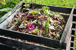 Wood compost bin filled with organic material.