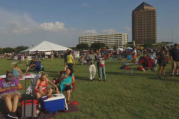 People picnicking at Levy Event Plaza during a recent festival.