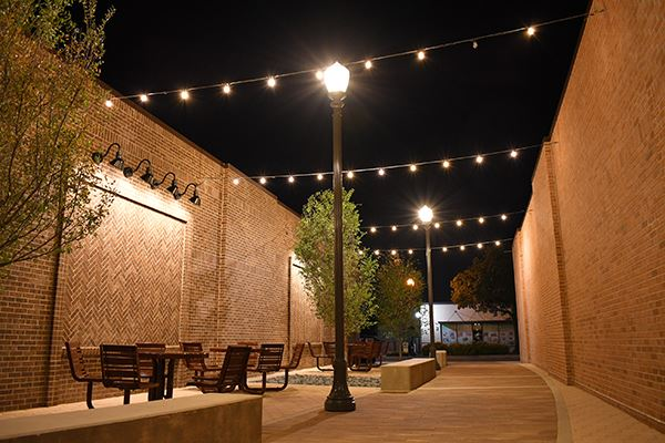Nighttime view of the new Main Street Plaza in downtown Irving.