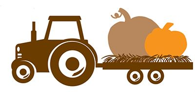 Illustration of a tractor pulling a wagon with a large pumpkin on it.