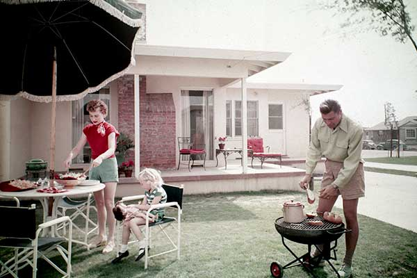 Family barbeque circa 1950s. Photo Credit: Lakewood Plaza, outdoor living space. Long Beach, CA, 195