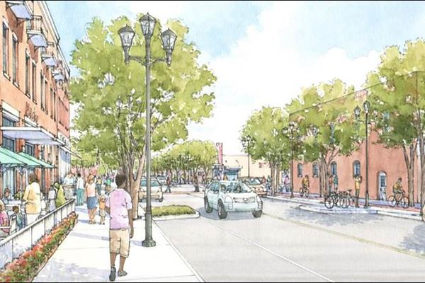 Artist's rendering of reconstructed Irving Boulevard.