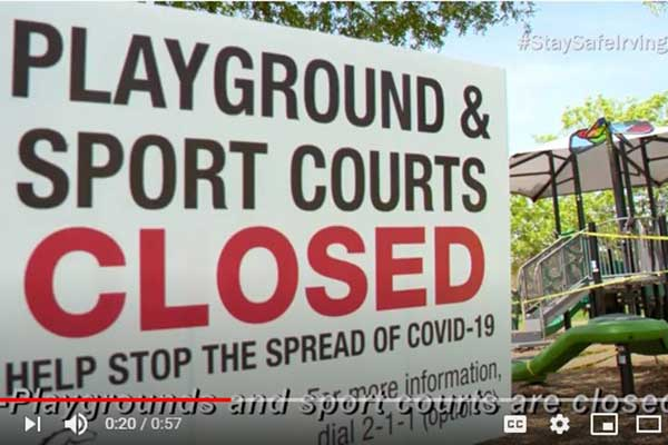 Sign indicating Irving playgrounds and sports facilities are closed.
